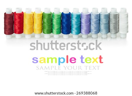 multicolored threads isolated on a white background. for example text and easily removed - stock photo