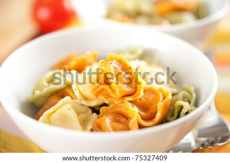 Multicolored Tortellini Pasta Served in White Bowls