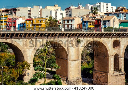 Multicolored town of Villajoyosa / La Vila Joiosa. Coastal town of Costa Blanca. Province of Alicante, Valencian Community, Spain
