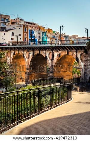 Multicolored town of Villajoyosa / La Vila Joiosa. Coastal town of Costa Blanca. Province of Alicante, Valencian Community, Spain - stock photo