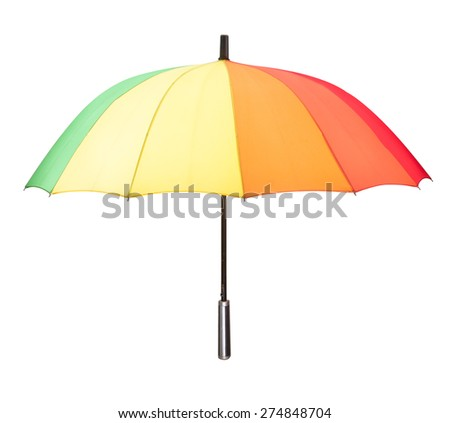 multicolored umbrella isolated against white background - stock photo