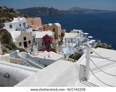 multicolored village of greek island