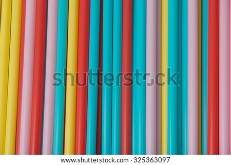 Multicolored vivid plastic drinking straws