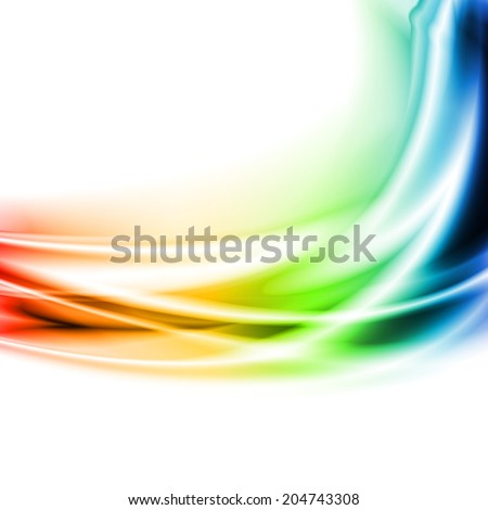 Multicolored waves on the white background - stock photo