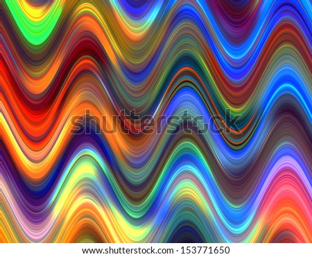 Multicolored waves pattern illustration. - stock photo