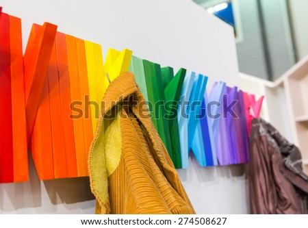 Multicolored wooden hanger