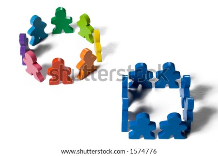 Multicolored wooden people illustrating a business concept - thinking outside the box or innovation.