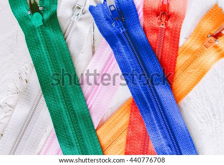 Multicolored zipper - stock photo