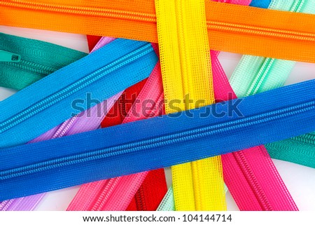 Multicolored zipper closeup