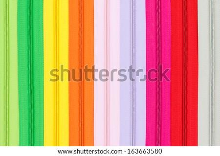Multicolored zipper closeup - stock photo
