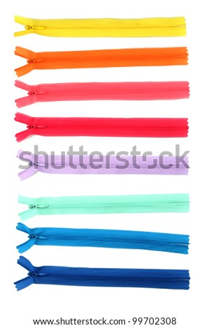 Multicolored zipper isolated on white - stock photo