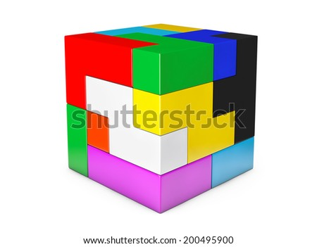 Multicolour cube brain teaser game on a white background - stock photo