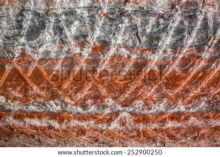 multicolour fragment of potassium salt mine's wall - stock photo