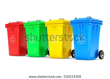 Multicoloured Garbage Trash Bins on a white background