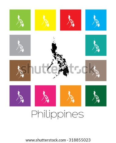 Multicoloured Map of the country of  Philippines