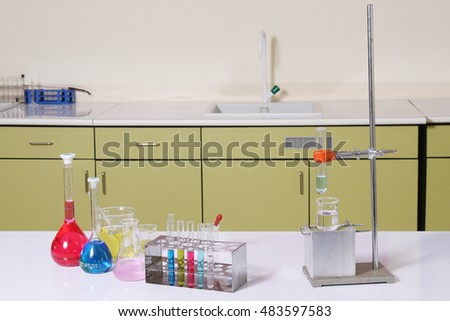 Multicoloured test tubes, Science and medical glassware and test tube