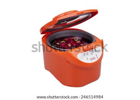 multicooker borsch orange color on a white background - stock photo