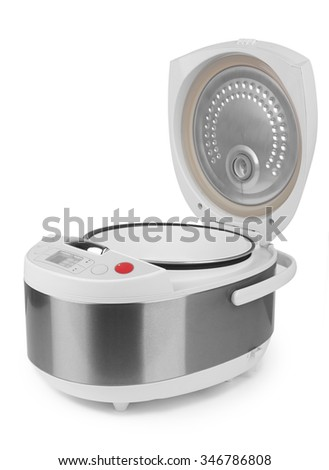 Multicooker or pressure cooker isolated on white background  - stock photo