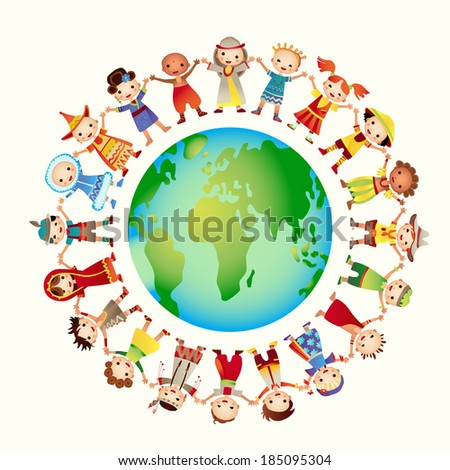Multicultural children on planet earth. Rasterized Copy - stock photo