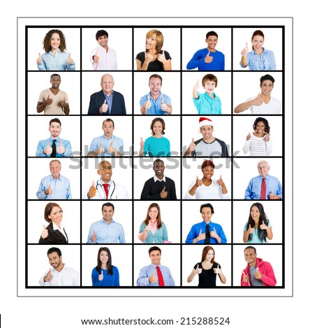 Multicultural different age generation ethnic group collage group people, business men women, elderly young showing thumbs up sign isolated white background. Positive emotion facial expression feeling - stock photo