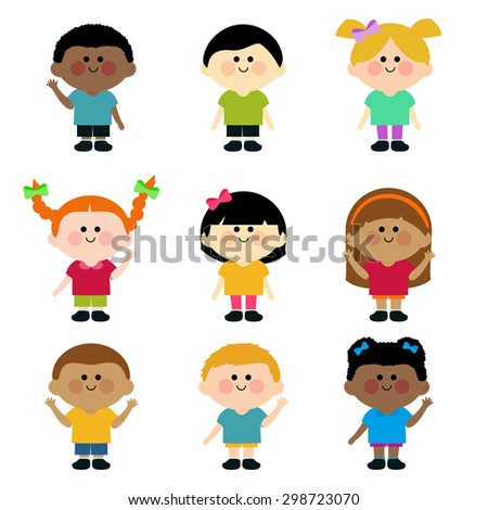 Multicultural group of kids. A happy multi-ethnic group of children. Vector version also available in my gallery. - stock photo