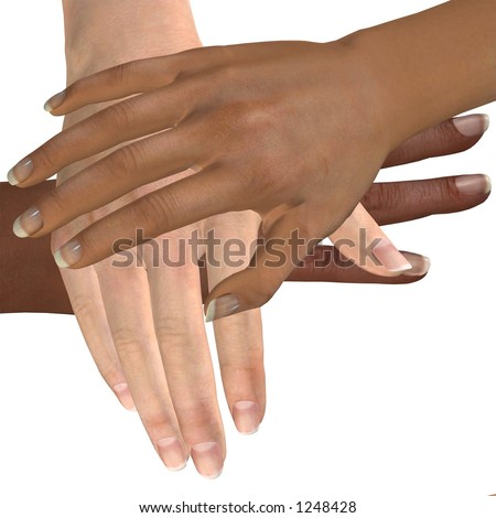 Multicultural Hands - Three hands piled in a gesture of belonging to the team.  The bottom hand belongs to an African person, the middle to a Caucasian person, and the top to an Asian person.