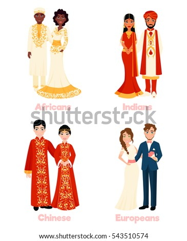 national clothing multicultural wedding couples national clothing on stock vector