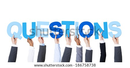 Multiethnic Business People Holding the Word Questions - stock photo