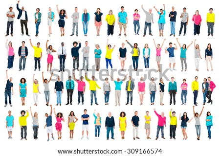 Multiethnic Casual People Togetherness Celebration Arms Raised Concept - stock photo