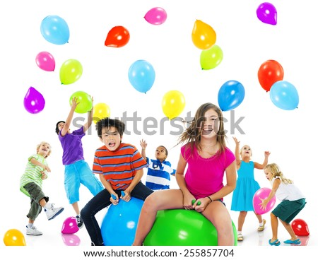Multiethnic Children Balloon Happiness Friendship Concept - stock photo