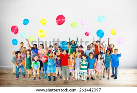 Multiethnic Children Smiling Happiness Friendship Balloon Concept
