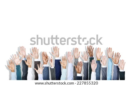 Multiethnic Group of Business Hands Raised