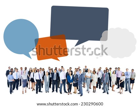 Multiethnic Group of Business People with Speech Bubbles - stock photo