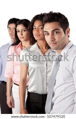 Multiethnic group of businesspeople isolated on white background. - stock photo