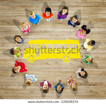 Multiethnic Group of Children with Back to School Concept - stock photo