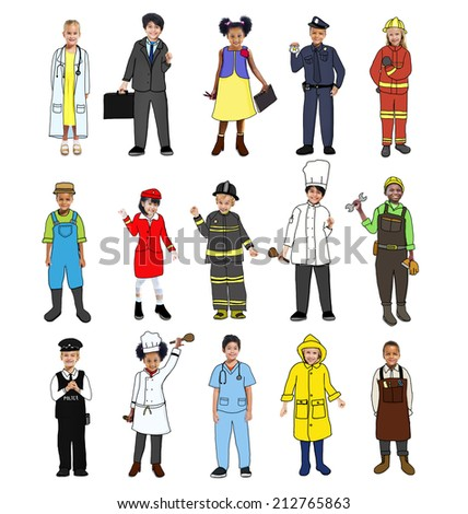 Multiethnic group of Children with Various Jobs Concepts