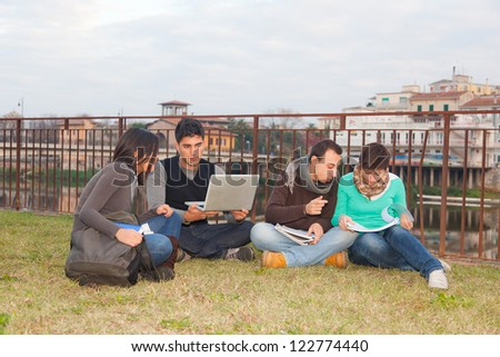 Multiethnic Group of College Students - stock photo