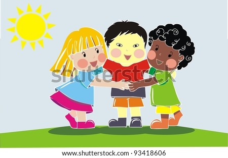 multiethnic group of friends - stock photo