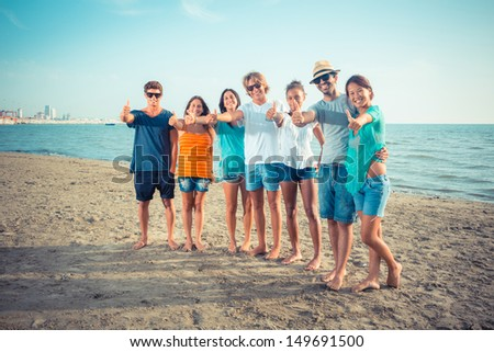Multiethnic Group of Friends at Beach - stock photo