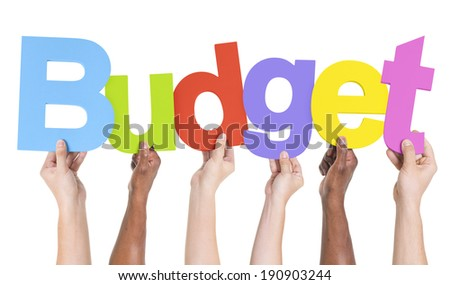 Multiethnic Group of Hands Holding Budget - stock photo