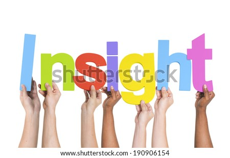Multiethnic Group of Hands Holding Insight - stock photo