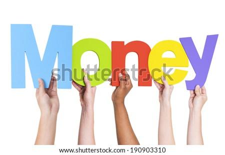 Multiethnic Group of Hands Holding Money - stock photo