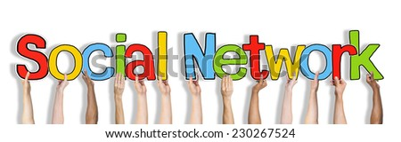 Multiethnic Group of Hands Holding Social Network - stock photo
