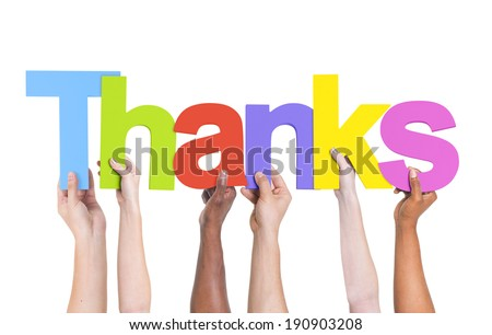 Multiethnic Group of Hands Holding Thanks - stock photo