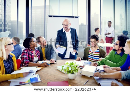 Multiethnic Group of People Brainstorming in the Office - stock photo