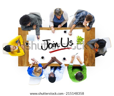 Multiethnic Group of People Discussing About Join Us - stock photo
