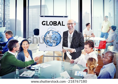 Multiethnic Group of People Discussion with Global Concept - stock photo
