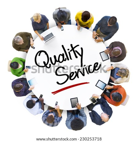 Multiethnic Group of People Discussion with Quality Service - stock photo