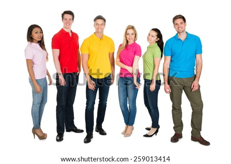 Multiethnic Group Of People Isolated Over White Background - stock photo