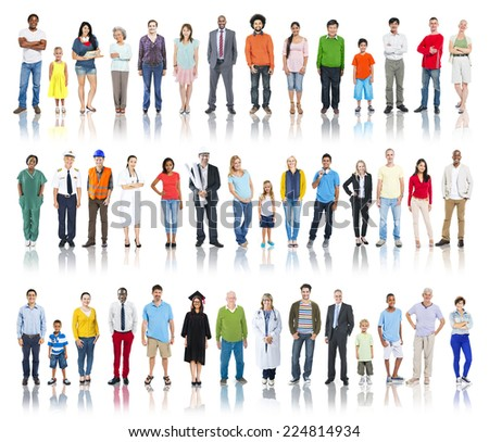 Multiethnic Group of People Smiling in a Row - stock photo
